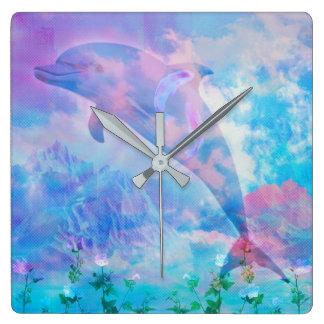 Reloj Cuadrado Delfín de Vaporwave en el cielo