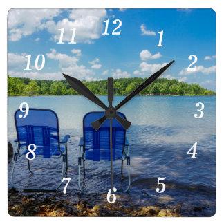 Reloj Cuadrado Día perfecto en el lago