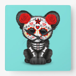 Reloj Cuadrado Día rojo de la pantera negra muerta Cub