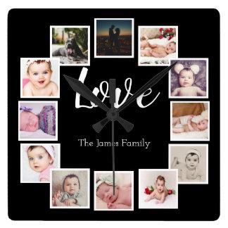 Reloj Cuadrado Diseñe su propio collage de 12 fotos personalizado