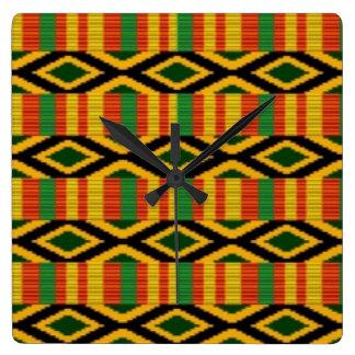 Reloj Cuadrado Diseño africano de la impresión del modelo del