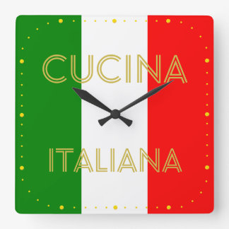 Reloj Cuadrado Diseño de Tricolore de la bandera de Italia del