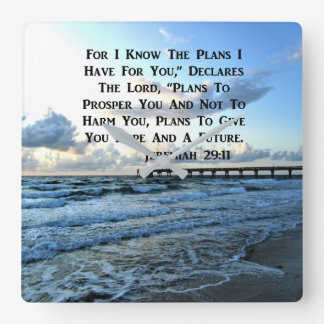 RELOJ CUADRADO DISEÑO DIVINO DE LA ESCRITURA DEL 29:11 DE