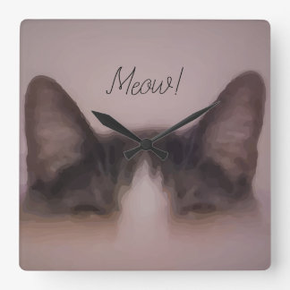 Reloj Cuadrado Diseño lindo de la pintura del gato del maullido