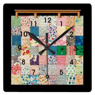 Reloj Cuadrado Edredón de remiendo del vintage