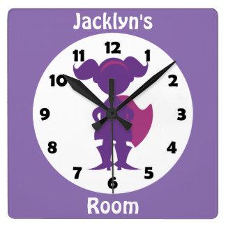 Reloj Cuadrado El chica púrpura personalizado del super héroe