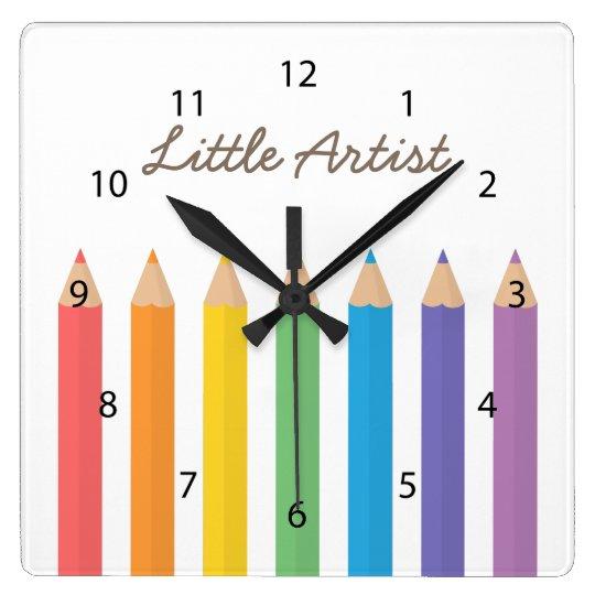 Reloj Cuadrado El colorante del arco iris dibujó a lápiz la | Zazzle.es