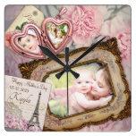 Reloj Cuadrado El Día de la Madre: El cesto del corazón rosado en