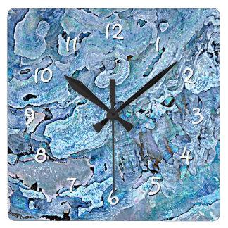 Reloj Cuadrado El falso mar azul púrpura elegante lindo Shell