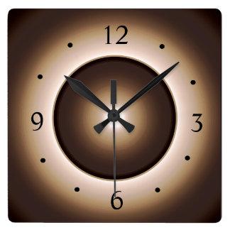 Reloj Cuadrado El moreno/Brown iluminó la impresión Design>Square