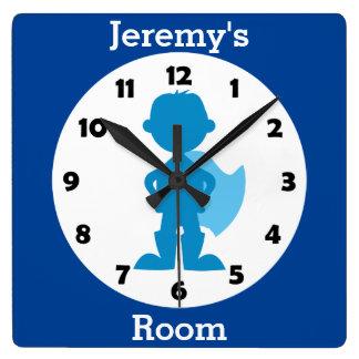 Reloj Cuadrado El muchacho azul personalizado del super héroe