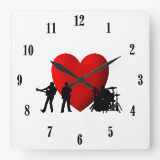 Reloj Cuadrado El negro del rock-and-roll del corazón numera el