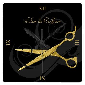 Reloj Cuadrado El negro elegante encrespa el falso salón de pelo