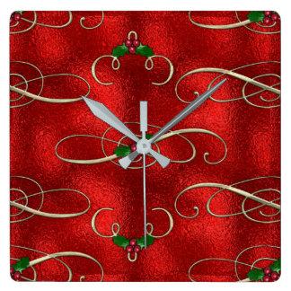 Reloj Cuadrado El oro bonito remolina con acebo y bayas