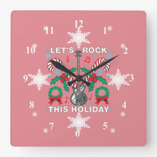 Reloj Cuadrado El suéter feo de los copos de nieve deja la roca