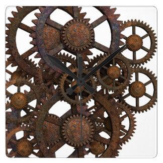 Reloj Cuadrado Engranajes oxidados del metal de Steampunk
