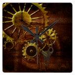 Reloj Cuadrado Engranajes y tubos de Steampunk