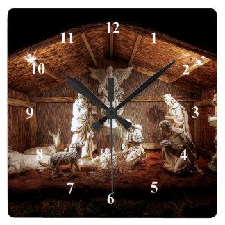 Reloj Cuadrado Escena del pesebre de la natividad de Jesús del