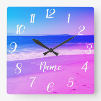 Reloj Cuadrado Escena rosada personalizada de la playa de Ombre