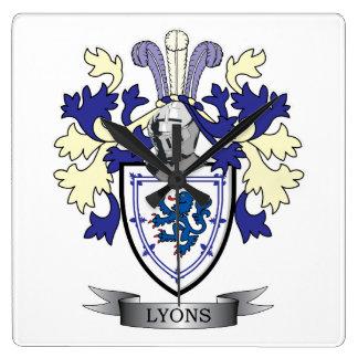 Reloj Cuadrado Escudo de armas del escudo de la familia de Lyon