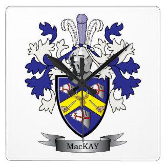 Reloj Cuadrado Escudo de armas del escudo de la familia de MacKay
