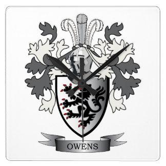 Reloj Cuadrado Escudo de armas del escudo de la familia de Owens