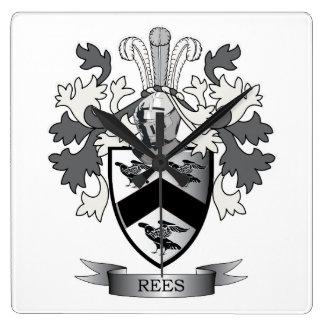 Reloj Cuadrado Escudo de armas del escudo de la familia de Rees