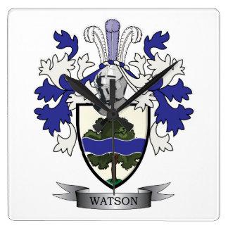 Reloj Cuadrado Escudo de armas del escudo de la familia de Watson