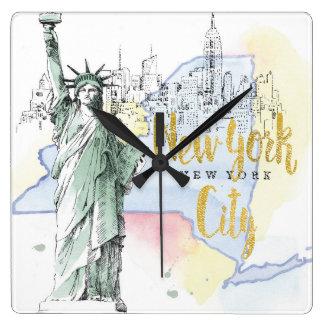 Reloj Cuadrado Estado de la estatua de Nueva York el | de la