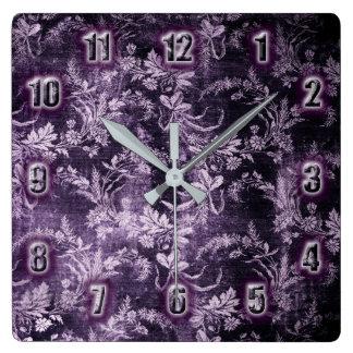 Reloj Cuadrado Estampado de flores del vintage del Grunge en