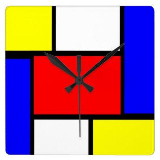 Reloj Cuadrado Estilo del modelo de Mondrian
