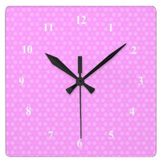 Reloj Cuadrado Estrella blanca púrpura de la lila en colores