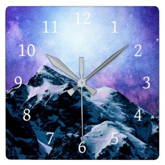 Reloj Cuadrado Estrellas del cielo de las montañas del diseño 59