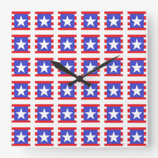 Reloj Cuadrado Estrellas, rayas y cuadrados patrióticos