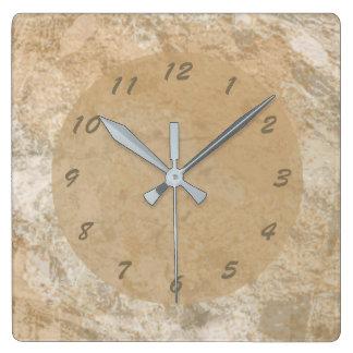 Reloj Cuadrado Falso mármol abstracto de Brown