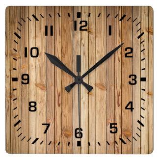 Reloj Cuadrado Falso revestimiento de madera de madera ligero
