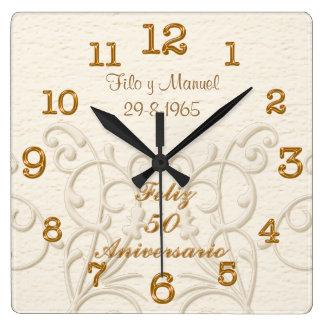Reloj Cuadrado Feliz 50 Aniversario con los NOMBRES y la FECHA