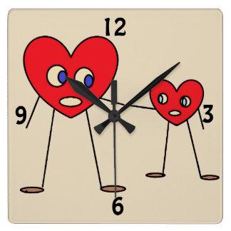 Reloj Cuadrado Figuras diseño del palillo del corazón del papá y