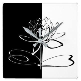 Reloj Cuadrado Flor negro de Yin Yang Lotus blanco