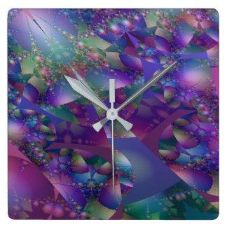 Reloj Cuadrado Fractal púrpura y azul de la burbuja