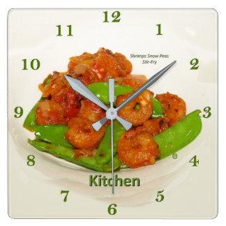 Reloj Cuadrado Fritada del Stir de la ostra de los guisantes de