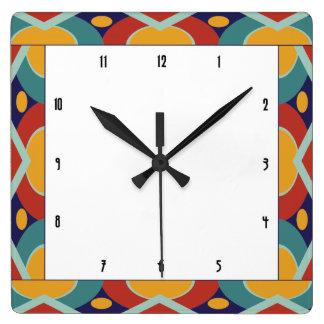 Reloj Cuadrado Frontera colorida del art déco