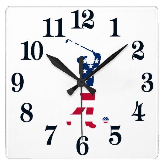 Reloj Cuadrado Golfista de la bandera de América del golf de los