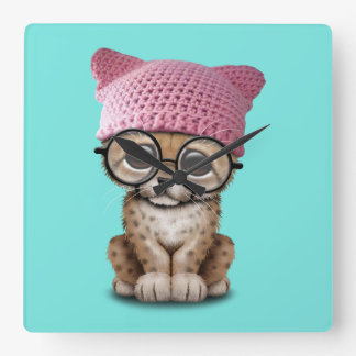 Reloj Cuadrado Gorra del gatito de Cub del guepardo que lleva