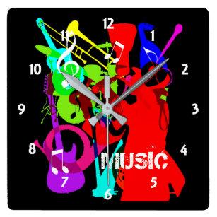 Reloj Cuadrado Gráfico de la música del relevo del instrumento