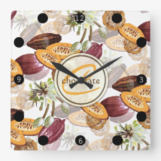Reloj Cuadrado Granos de cacao, flores del chocolate, los regalos