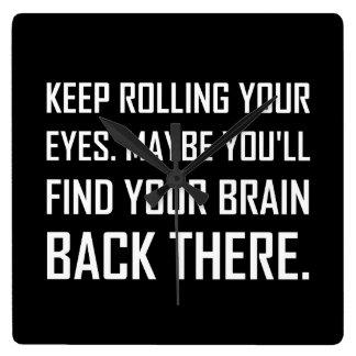 Reloj Cuadrado Guarde el rodar del cerebro del hallazgo de los