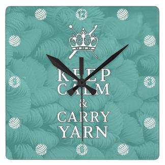 Reloj Cuadrado Guarde la calma para llevar el hilado CraftRoom