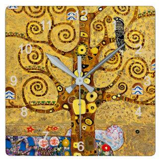 """Reloj Cuadrado Gustav Klimt , """" Tree of life """""""