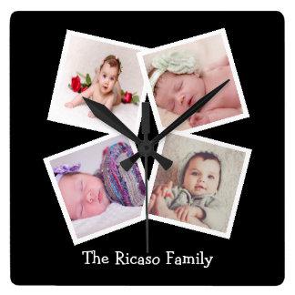Reloj Cuadrado Haga su propio collage de 4 fotos personalizado